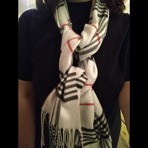 Red, White, & Black Striped Scarf